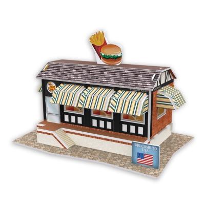 世界之窗 3D立體拼圖 美國 漢堡店 3D World Style