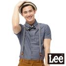 Lee 短袖襯衫 緹花及素面拼接-男款(藍)