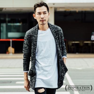 雅痞時尚開襟翻領設計針織罩衫外套-INSPIRATION