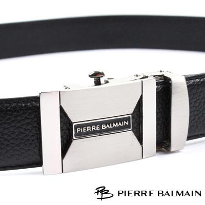 PB 皮爾帕門-經典方框雙邊簍空幾何Logo款-頭層牛皮自動扣皮帶-706