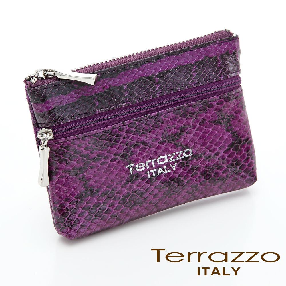 義大利Terrazzo - 時尚蛇皮雙層零錢鑰匙包-紫色73S1997A