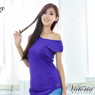 Victoria 右肩立體抓摺長T-女-紫