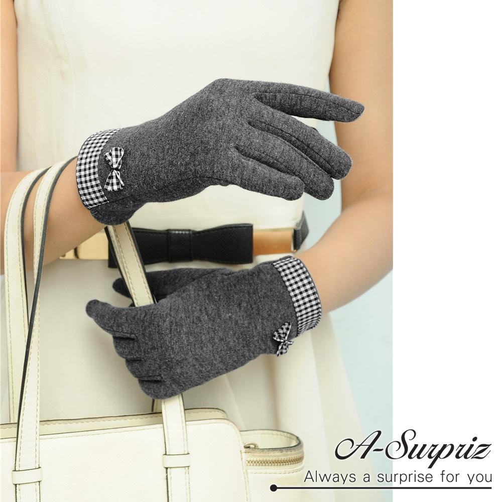 A-Surpriz 細格紋蝶結精梳棉觸控手套(深灰 )