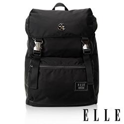 ELLE HOMME 獨特巴黎鐵塔設計休閒風格 可置物12吋扣層 機能後背包-黑色