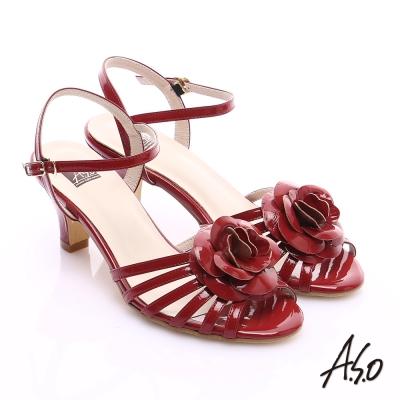 A.S.O 氣質名媛 立體山茶花細條帶涼鞋 紅
