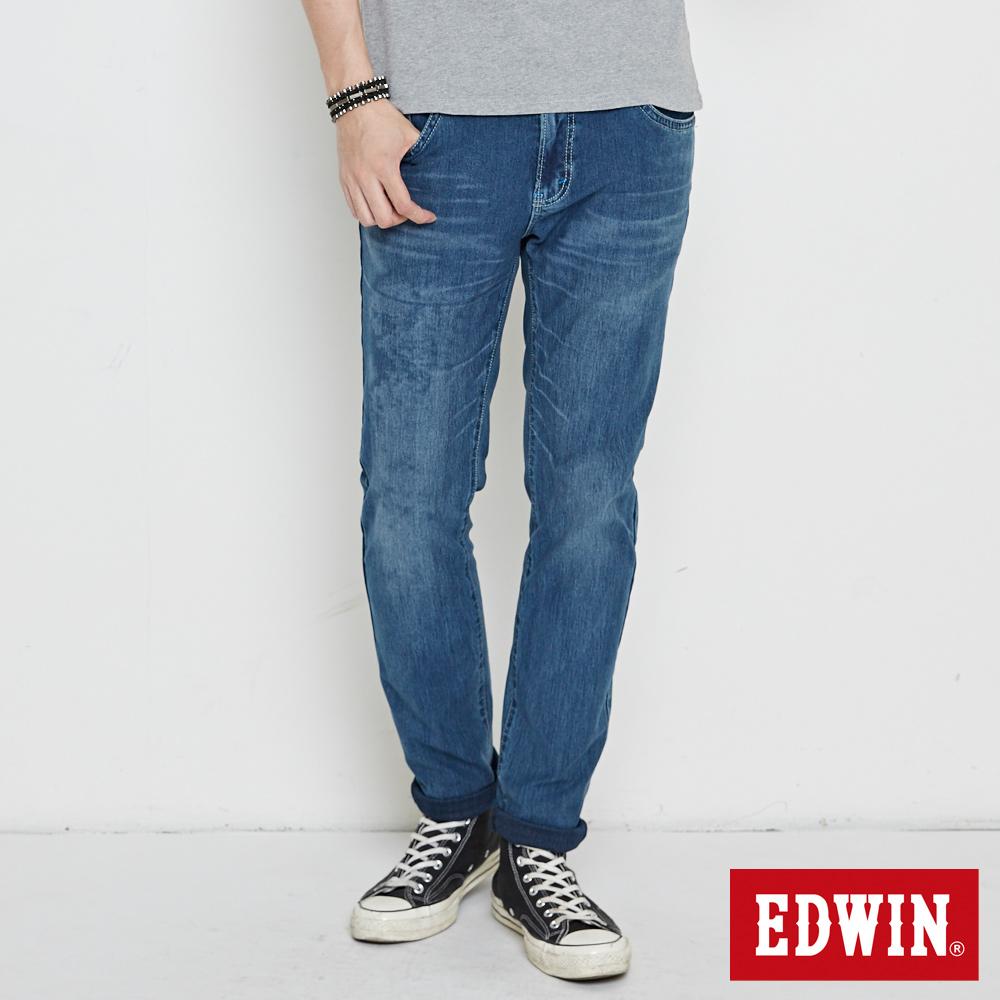 EDWIN 迦績褲 不對稱刷色窄直筒牛仔褲-男-中古藍
