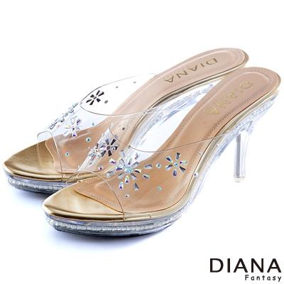 DIANA-童話故事-花朵綻放水鑽玻璃跟鞋-金
