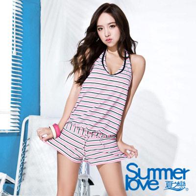 夏之戀SUMMERLOVE 粉色條紋連身褲三件式泳衣