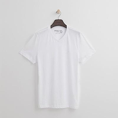 Hang Ten - 男裝 - 有機棉 基本V領T恤-白色