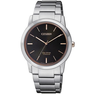 CITIZEN星辰 Eco Drive簡約時尚鈦金屬腕錶(FE7024-84E)-34mm