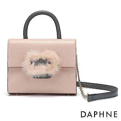 達芙妮DAPHNE-絨毛金屬鍊帶拼接手提側背兩用包-粉紅