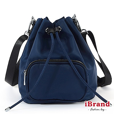iBrand 簡約口袋3 WAY水桶包後背包-藍