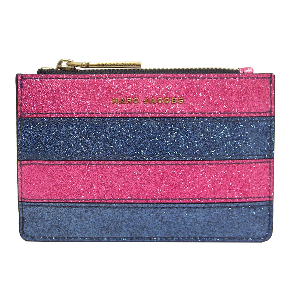 MARC JACOBS Striped Glitter 條紋漆皮拉鍊鑰匙/零錢包-粉紅/藍 @ Y!購物