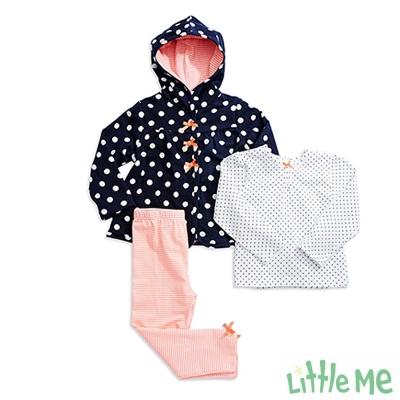 Little Me 藍點外套內搭褲 套裝三件組