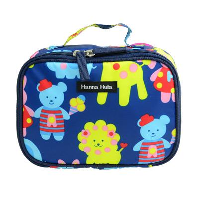 【Hanna Hula 日本】多用途隨身包-可裝化妝品/衣物/尿片(動物藍)