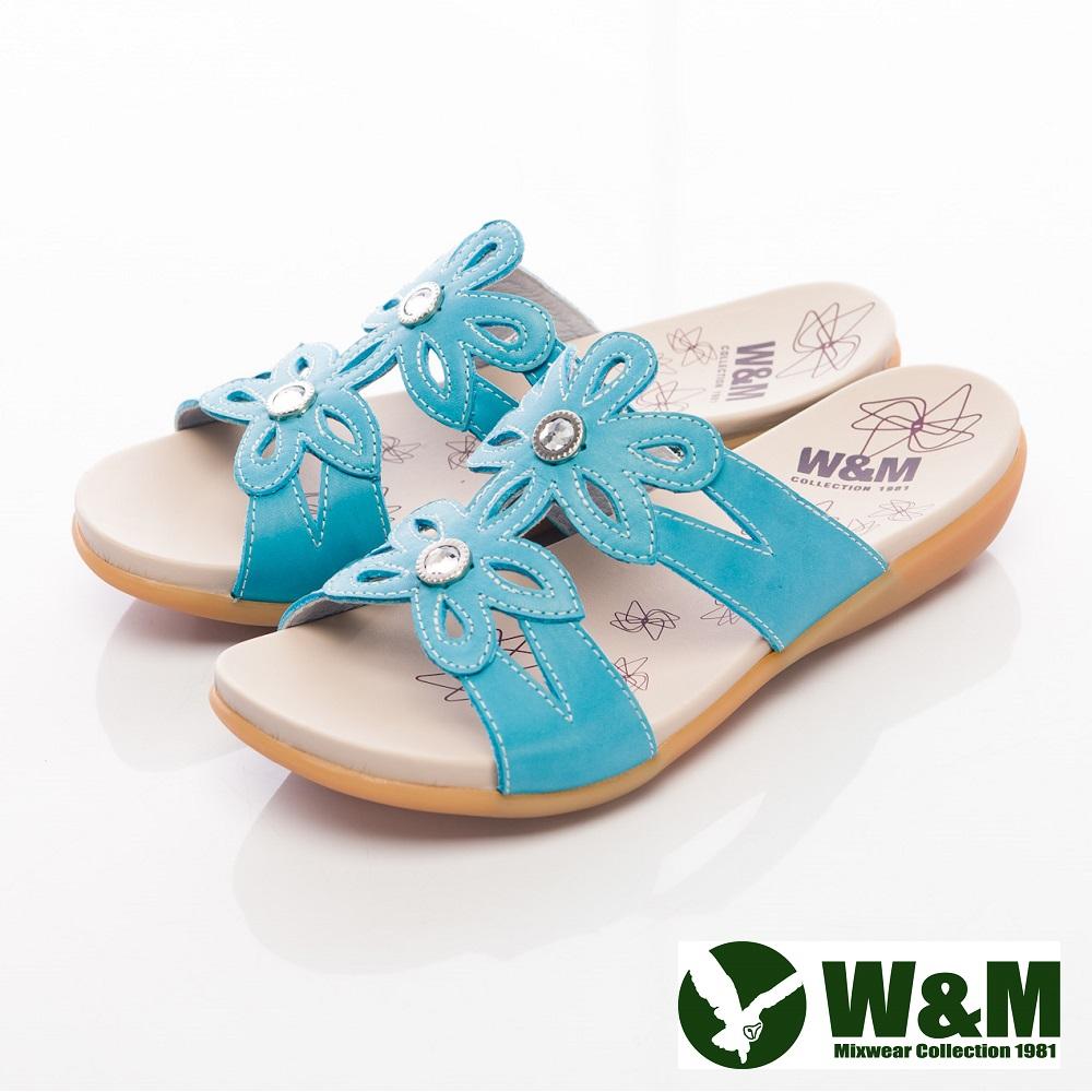 W&M 鑽飾花造型淑女拖鞋女鞋-藍