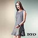 IGD英格麗 羊毛素面荷葉裙擺造型洋裝