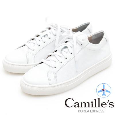 Camille's 韓國空運-正韓製-牛皮經典綁帶休閒鞋-純白