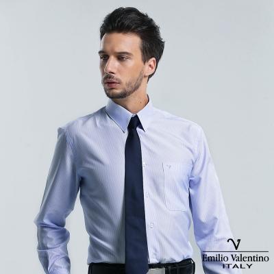 Emilio Valentino 范倫提諾保暖條紋長袖襯衫-藍