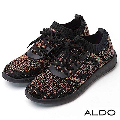 ALDO 原色幾何霓光網眼針織綁帶式休閒運動鞋~霓光黑色