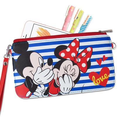 迪士尼正版 米奇米妮悄悄話 皮革紋手拿包  萬用手機袋