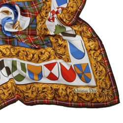 Christian Dior 皇家徽章格紋飾邊大領巾-藍
