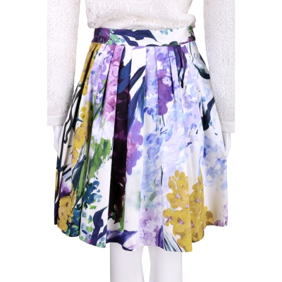 BLUGIRL 花卉圖繪抓褶設計及膝裙