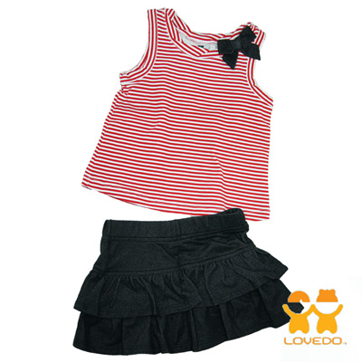 【LOVEDO-艾唯多童裝】休閒紅白條紋 背心短裙兩件組套裝(紅)