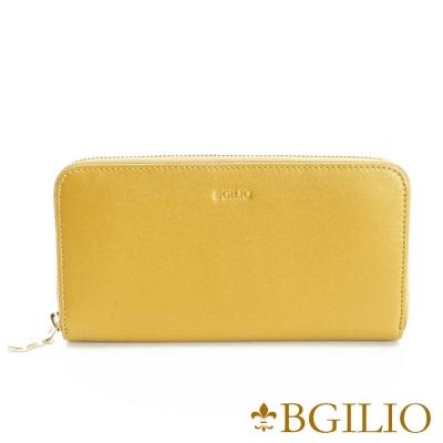 義大利BGilio NAPPA軟牛皮(金屬色系)氣質拉鍊長夾-黃色1969.323A-13