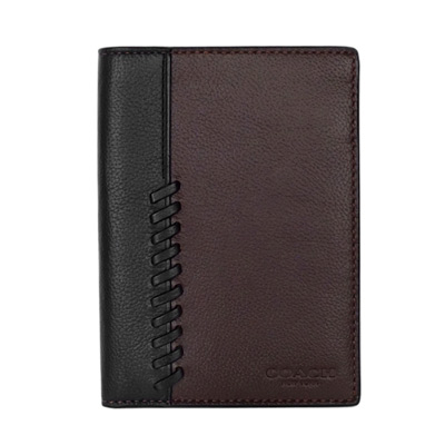 COACH深可可黑色編織拼接全皮雙摺護照夾