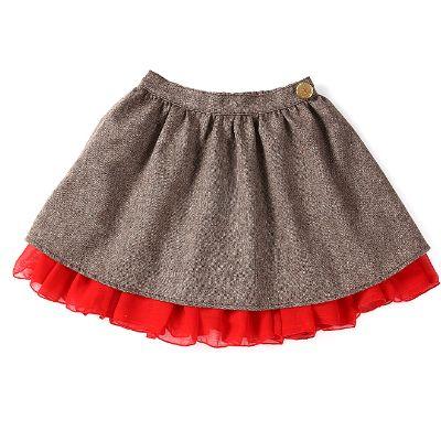 【Misha Lulu 】魔術風- 金色小花鈕扣大紅內襯短裙(2-6y)