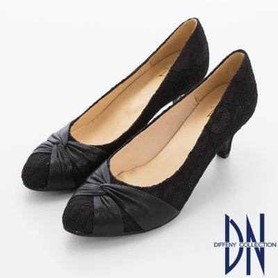 DN 名媛貴族 優雅緞面拼接蕾絲高跟鞋~黑