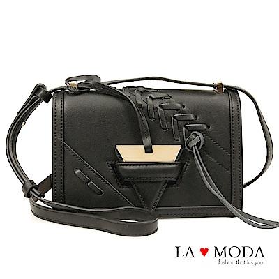 La Moda 經典精品質感流蘇肩背斜背小方包(黑)