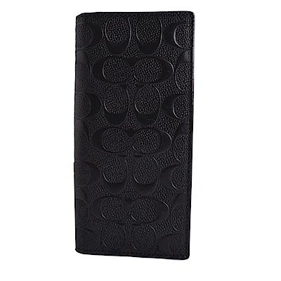 COACH 立體浮雕滿版C Logo防刮皮革雙摺長夾-質感黑