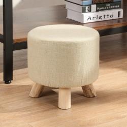 邏爵LOGIS 迷你小胖凳 實木四腳圓椅 棉麻布套 穿鞋椅 矮凳
