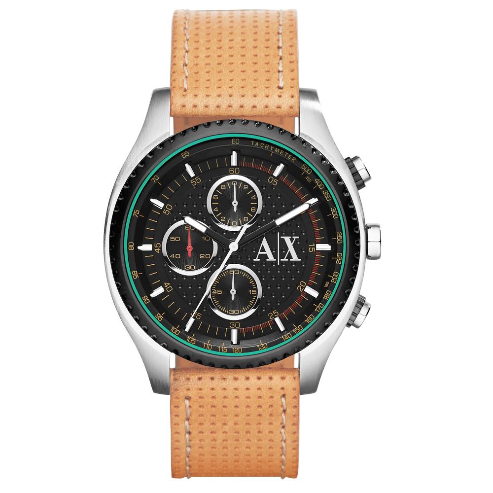 A│X Armani Exchange 極速車手計時腕錶-黑x淺褐錶帶/45mm