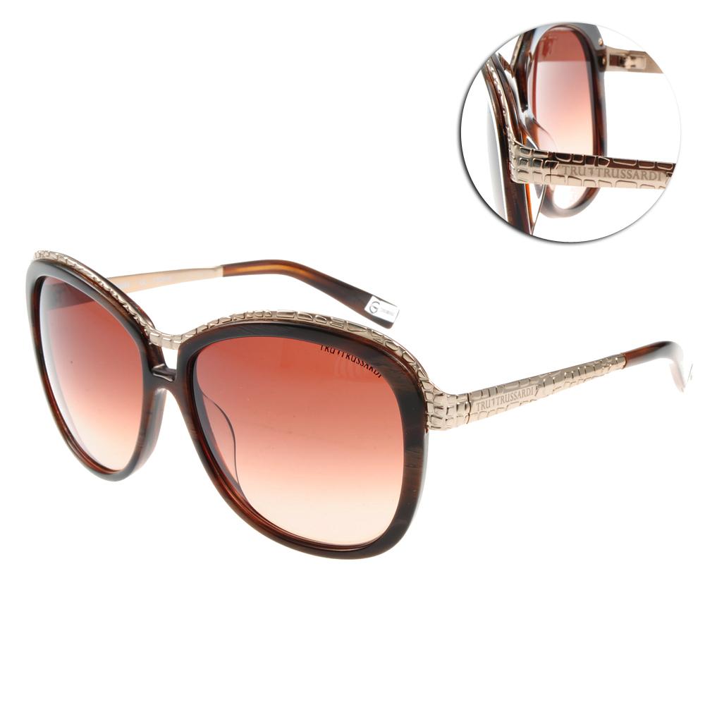 TRUSSARDI太陽眼鏡 時尚大框#琥珀TR12807 DO