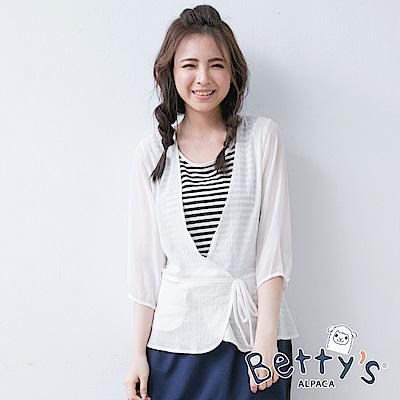 betty's貝蒂思 條紋背心假兩件式拼接雪紡七分袖上衣(白色)
