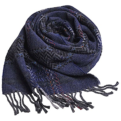 Vivienne Westwood 長版格紋行星LOGO刺繡羊毛圍巾(藍底)