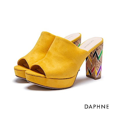達芙妮DAPHNE 涼拖鞋-前高後高魚口穆勒粗跟涼拖鞋-黃