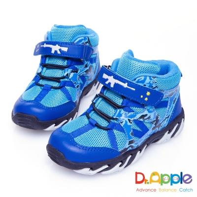Dr. Apple 機能童鞋 阿兵哥帥氣迷彩步槍中筒童靴款 藍