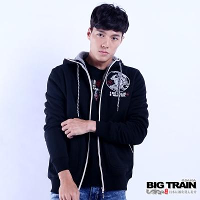 BIG TRAIN 龍魂貼合內毛絨連帽外套-男-黑色