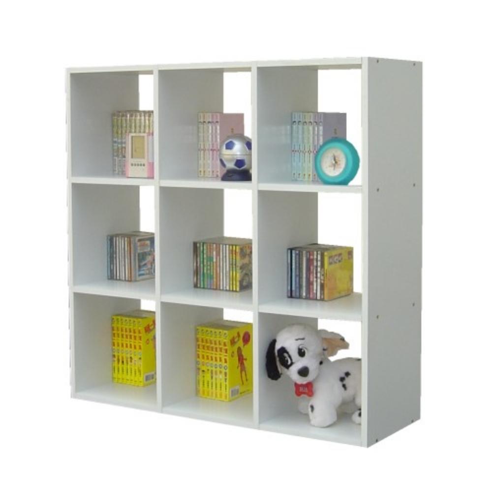 頂堅9格(90公分寬)收納書櫃-素雅白色