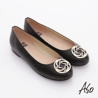 A-S-O-經典系列-全真皮立體壓紋奈米平底鞋-黑