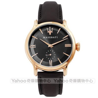 MASERATI 瑪莎拉蒂 EPOCA 小秒盤手錶-黑x玫瑰金框/42mm