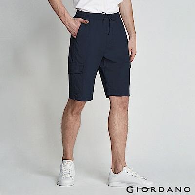 GIORDANO 男裝鬆緊腰綁帶口袋卡其短褲/工作褲-66 標誌海軍藍