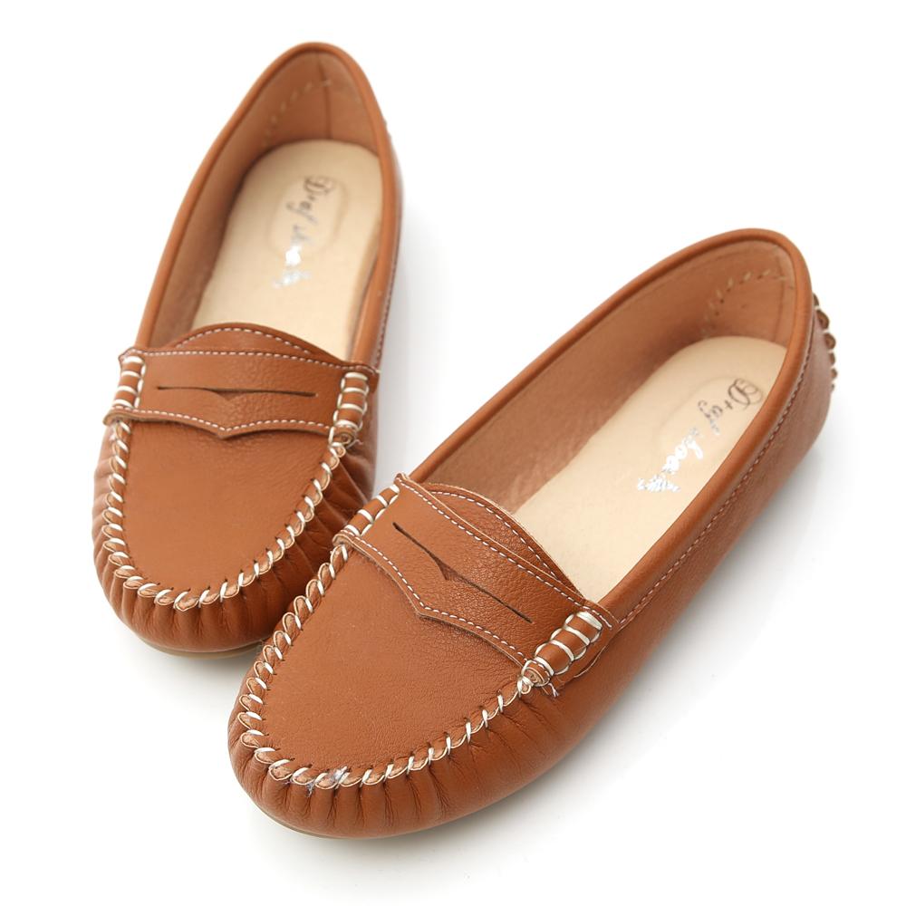 D+AF 悠活主張.MIT舒適莫卡辛豆豆鞋*棕