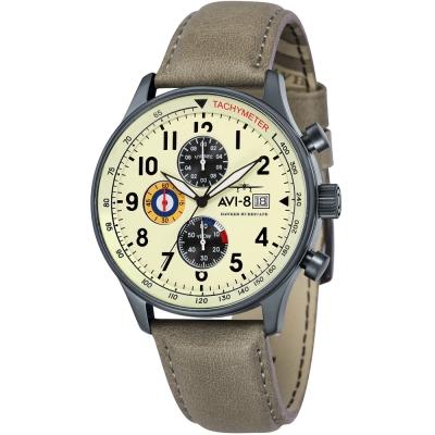 AVI-8 飛行錶 HAWKER HURRICANE 潮流手錶-米x褐/42mm