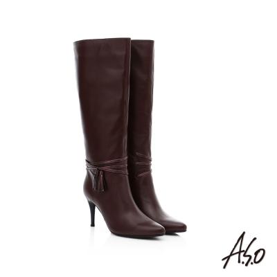 A.S.O 保暖靴 真皮流蘇綴飾細跟長靴 咖啡色