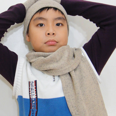 【CoFeel酷咖絨】咖啡混紡兒童帥氣保暖圍巾-咖啡色